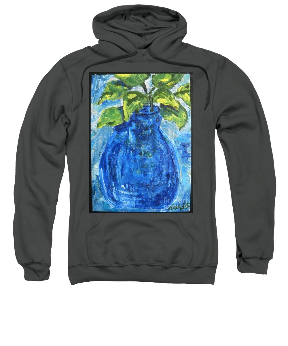Botanical Sweatshirt featuring the painting Simple Greens by Reina Resto