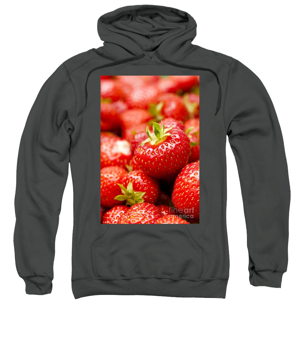 Ananassa Sweatshirt featuring the photograph Simply Strawberries by Anne Gilbert