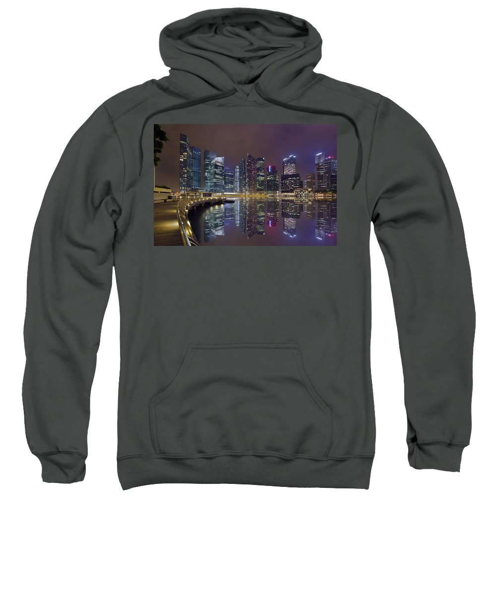 Singapore Sweatshirt featuring the photograph Singapore City Skyline Along Marina Bay Boardwalk At Night by Jit Lim