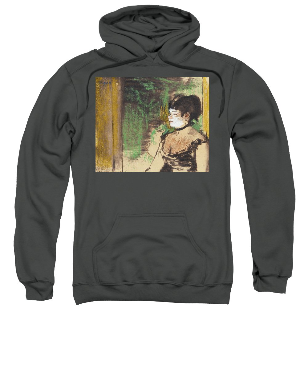 Edgar Degas Sweatshirt featuring the drawing Singer In A Cafe Concert by Edgar Degas