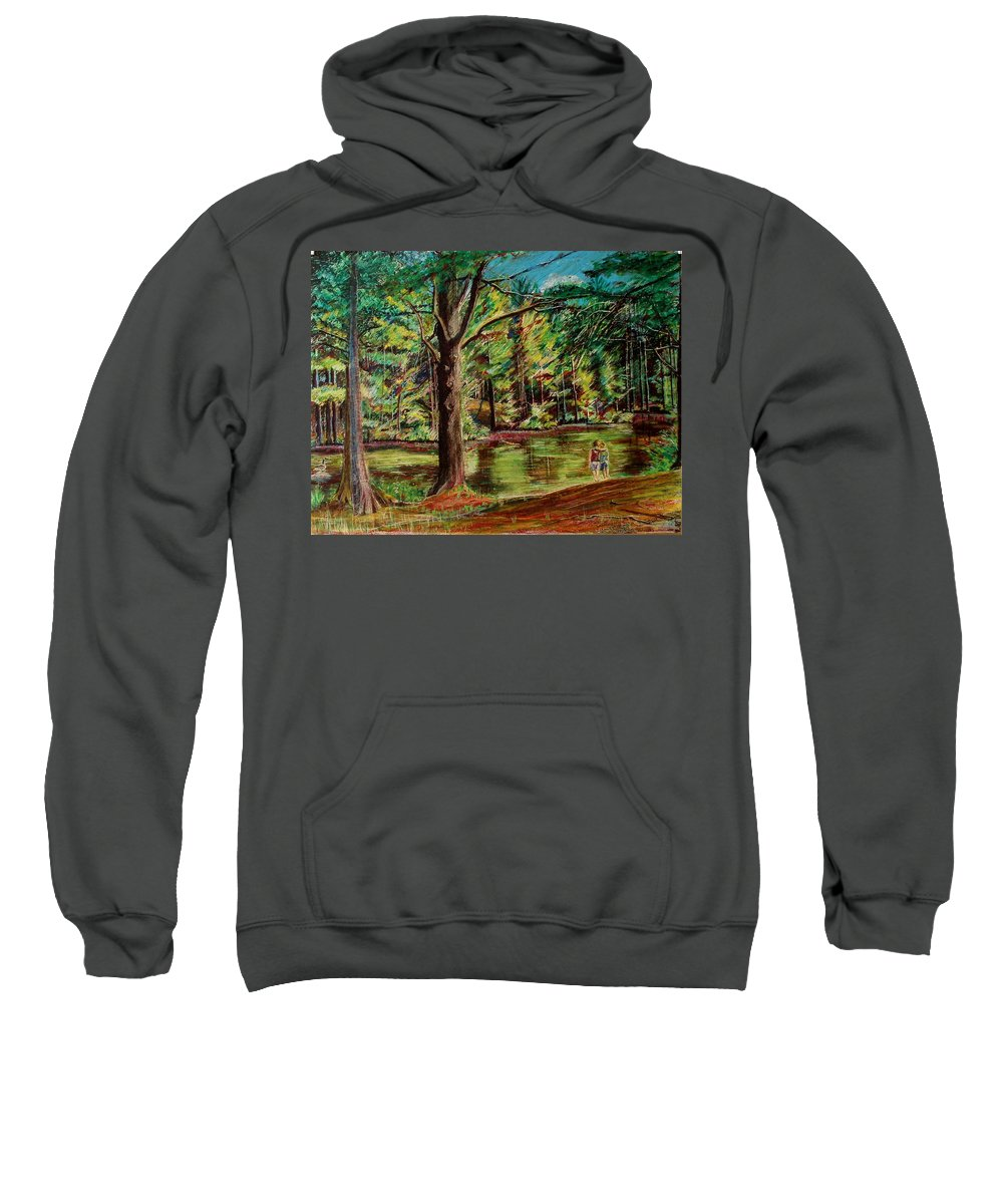 New Hampshire Sweatshirt featuring the pastel Sisters At Wason Pond by Sean Connolly