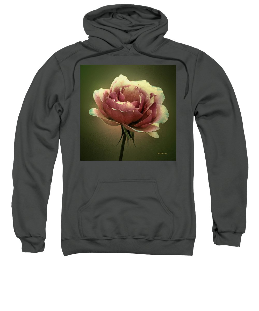 Rose Sweatshirt featuring the painting Skyblue Pink by RC DeWinter