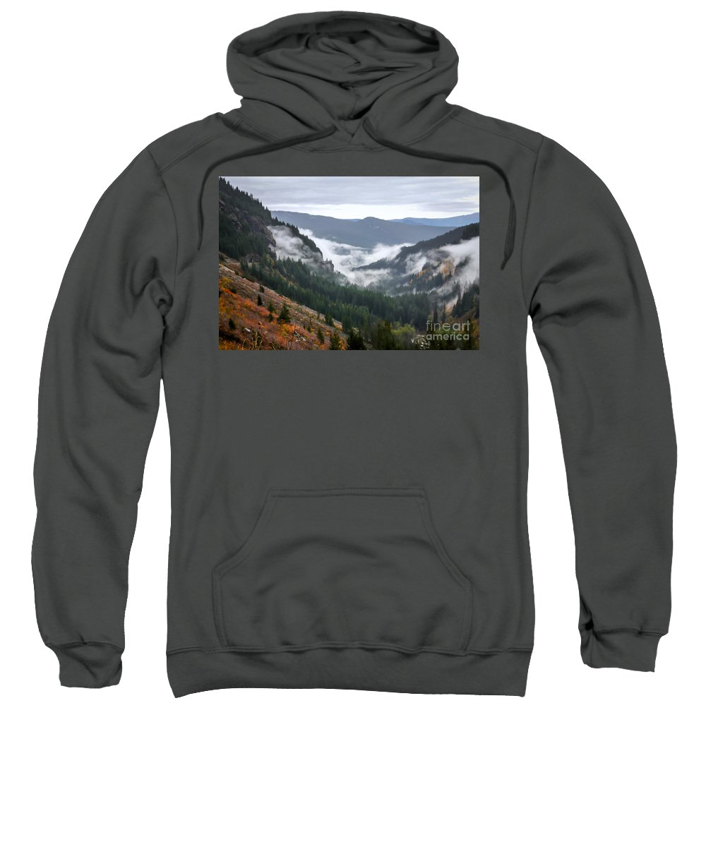 Mount Rainier Sweatshirt featuring the photograph Sly Fog Dance by DAC Photography