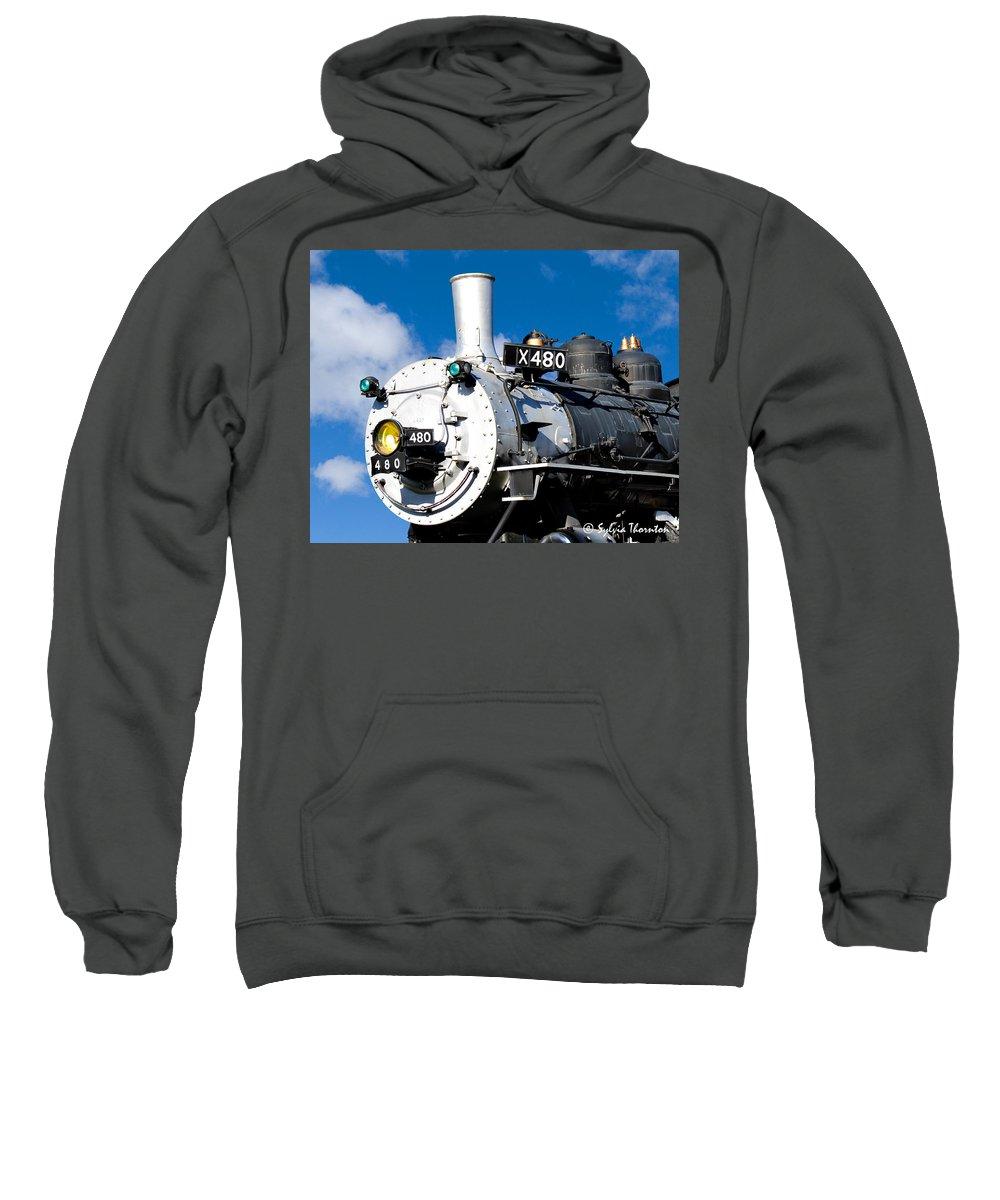Train Sweatshirt featuring the photograph Smiling Locomotive by Sylvia Thornton