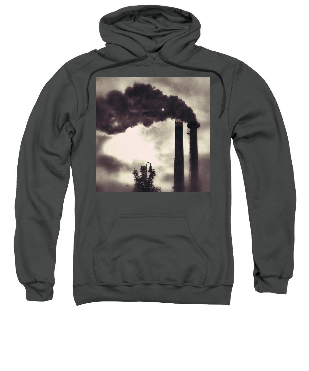 Smoke Sweatshirt featuring the photograph Smoke Stack by Shirley Radabaugh