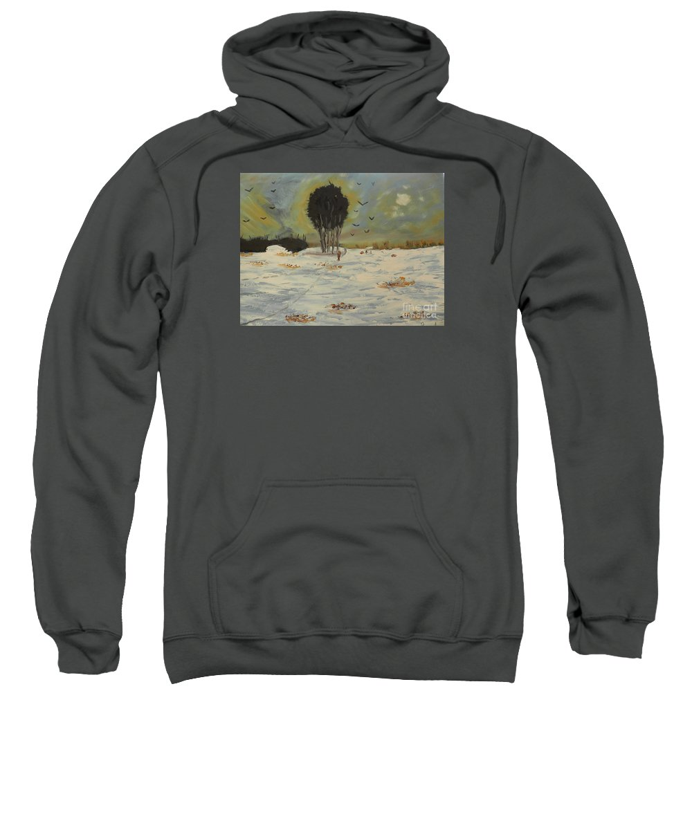 Impressionist Sweatshirt featuring the painting Snow At Christmas by Pamela Meredith