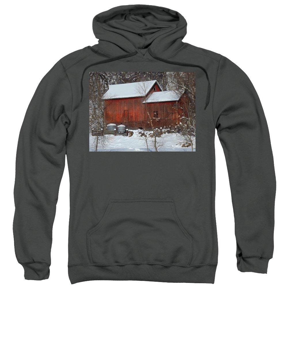 Barn Sweatshirt featuring the photograph Snow Barn by Bonfire Photography