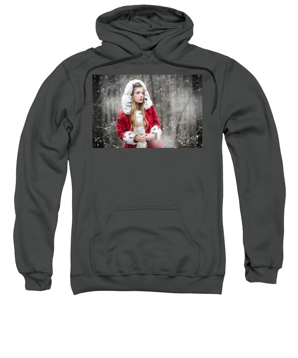 Adult Sweatshirt featuring the photograph Snow Beauty In Red by Jt PhotoDesign