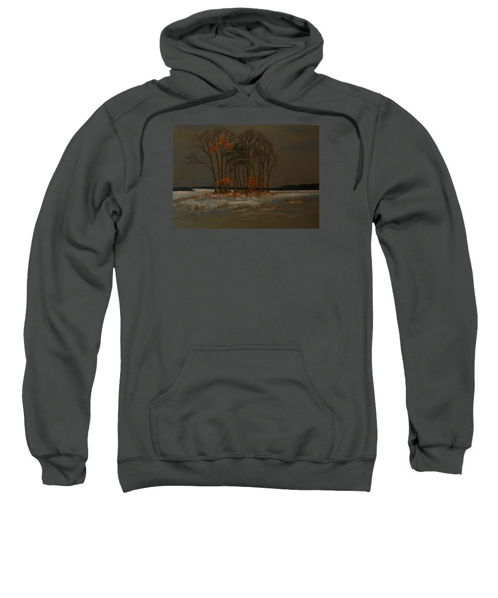 Wood Sweatshirt featuring the painting Snow by Birgit Schnapp