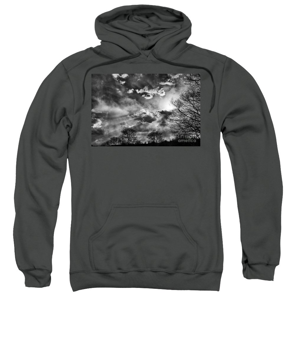 Tree Sweatshirt featuring the photograph Snow Is In The Air Bw by Joe Geraci