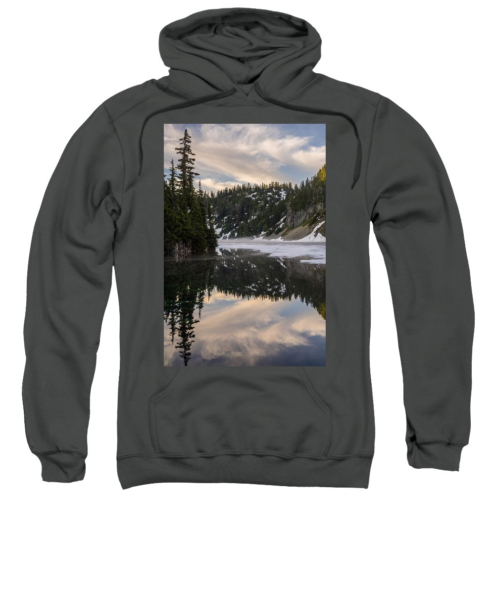 Snow Lake Sweatshirt featuring the photograph Snow Lake Last Fog by Mike Reid