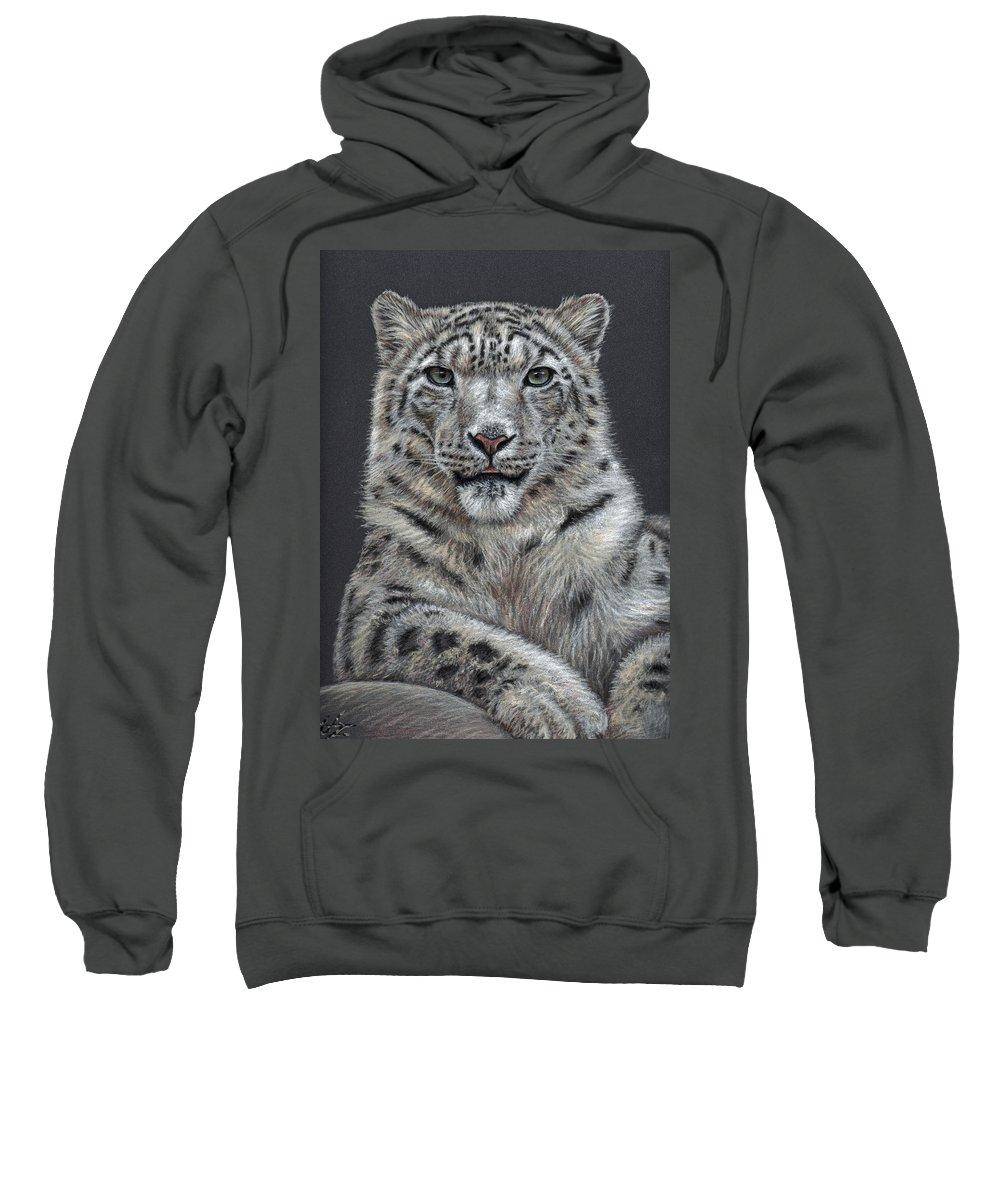 Snow Sweatshirt featuring the pastel Snow Leopard by Nicole Zeug