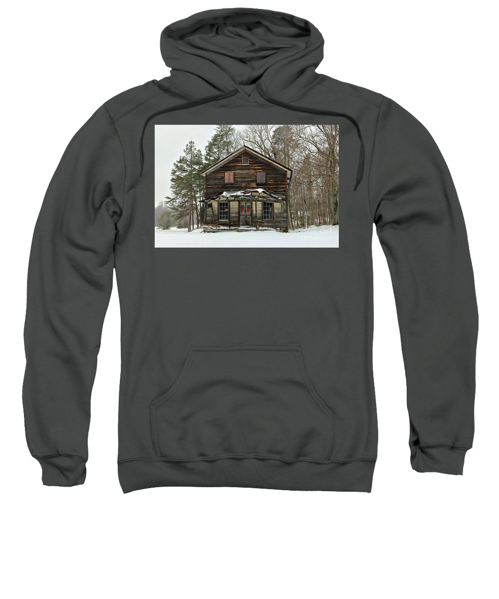 General Store Sweatshirt featuring the photograph Snow On The General Store by Benanne Stiens