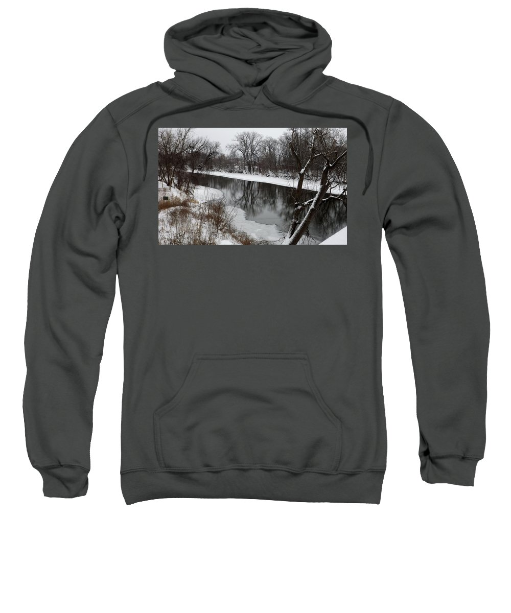 River Sweatshirt featuring the photograph Snow On The River by Linda Kerkau