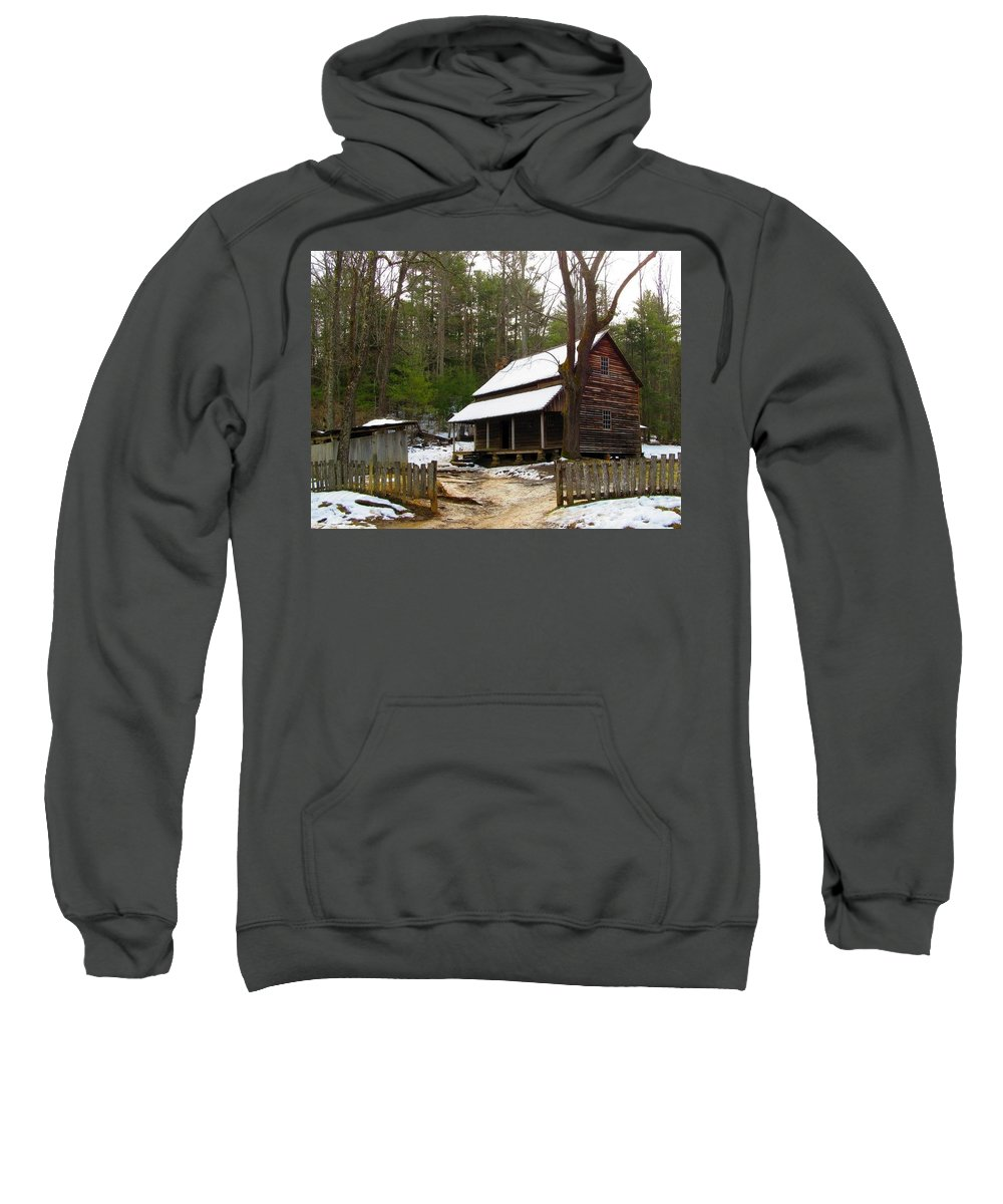Landscape Sweatshirt featuring the photograph Snow On The Roof Top by Kathy R Thomas