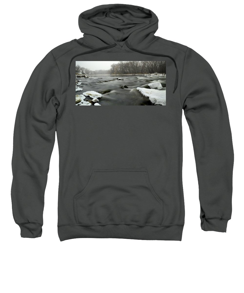 River Sweatshirt featuring the photograph Snow Rapids by Bonfire Photography