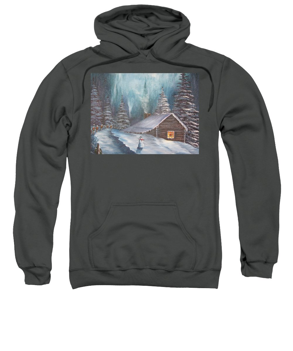 Cabin Sweatshirt featuring the painting Snowbound Holiday by Terry Boulerice