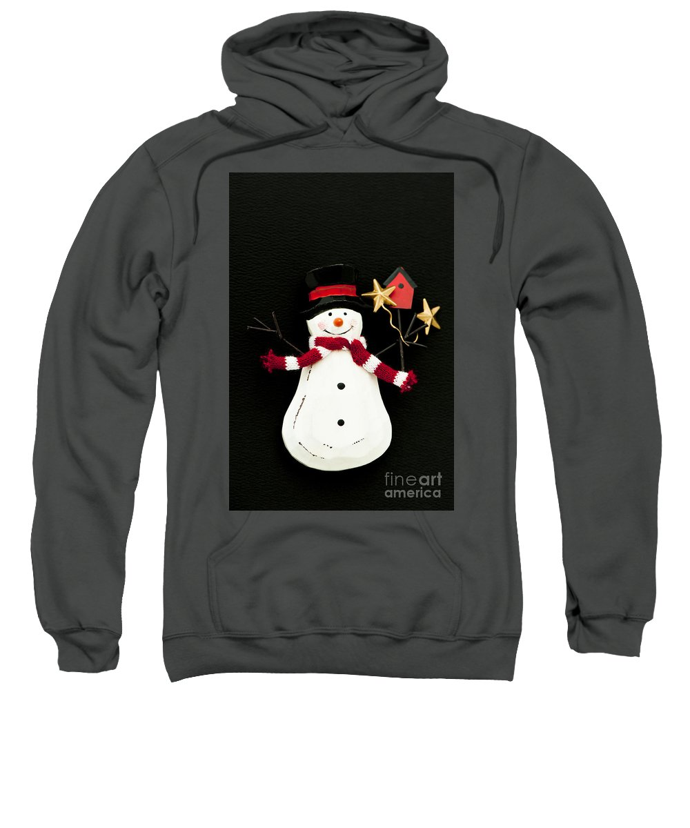 Background Sweatshirt featuring the photograph Snowman by Anne Gilbert