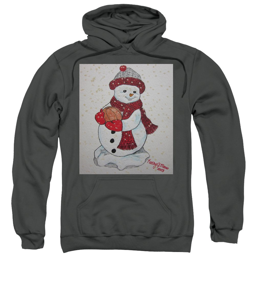 Snowman Sweatshirt featuring the painting Snowman Playing Basketball by Kathy Marrs Chandler