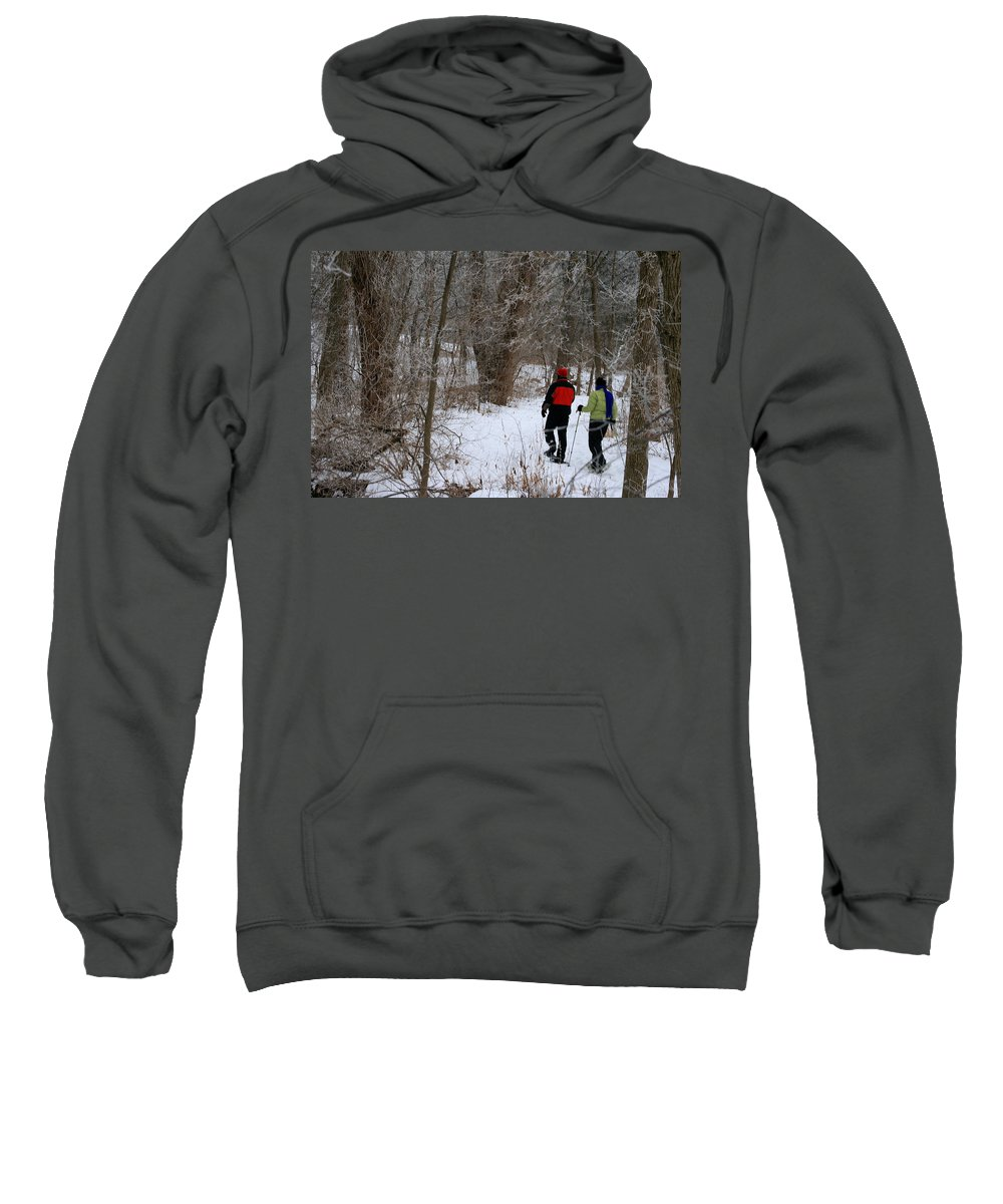 Couple Sweatshirt featuring the photograph Snowshoeing In The Park by Kay Novy