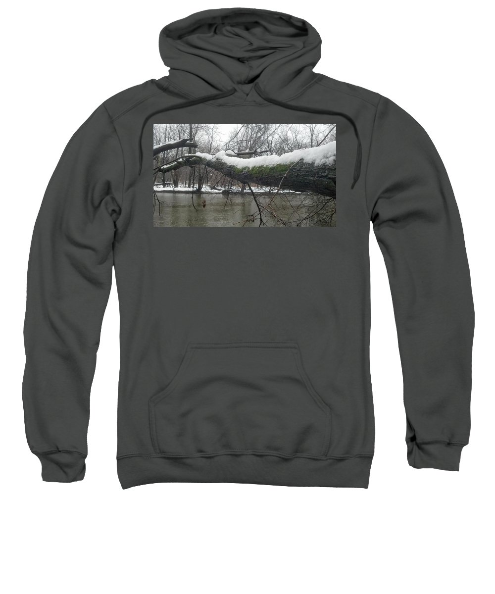 Winter Sweatshirt featuring the photograph Snowy River by Steve Scheunemann
