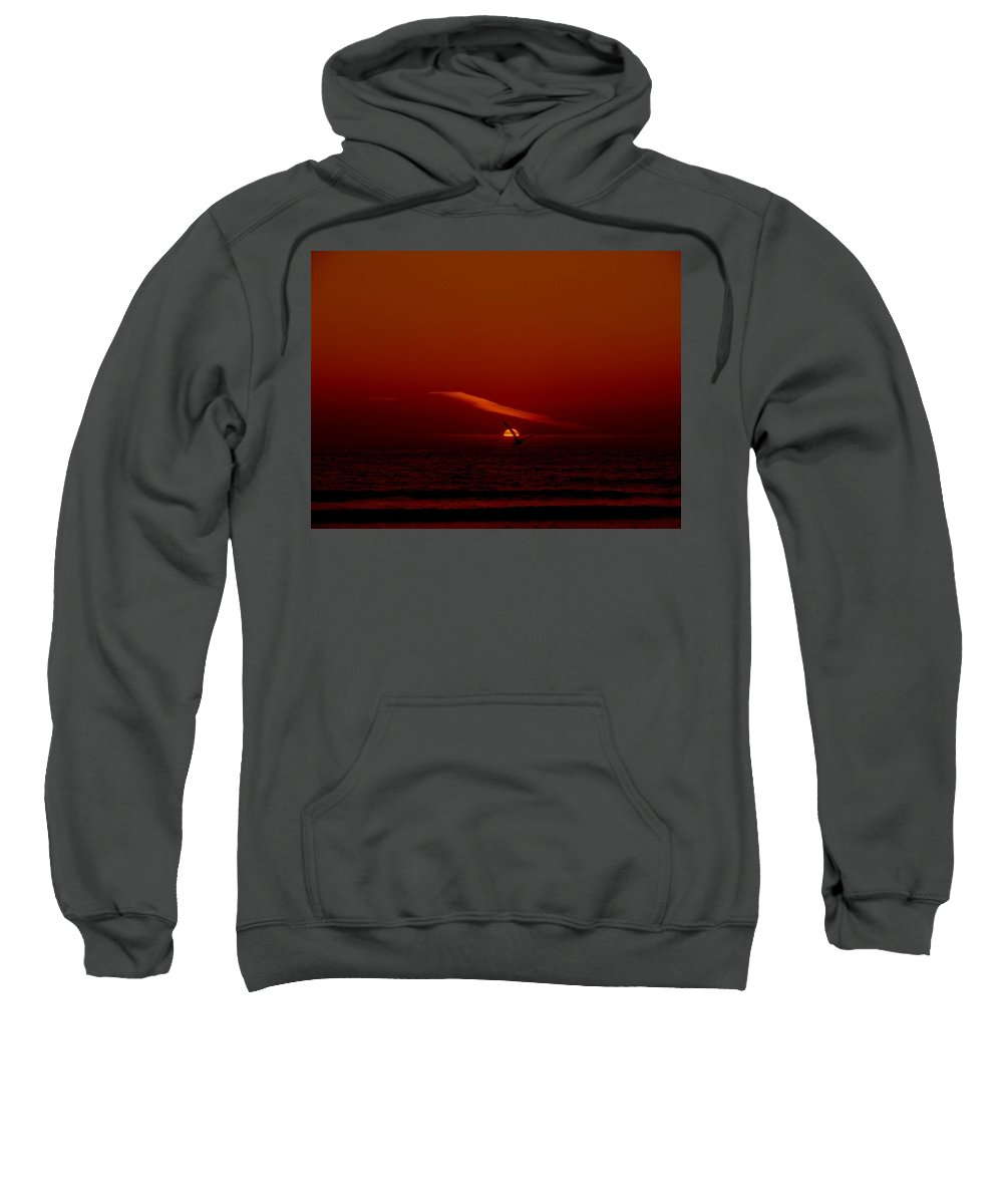 Seagull Sweatshirt featuring the photograph Soaring The Red Sky by Keisha Marshall