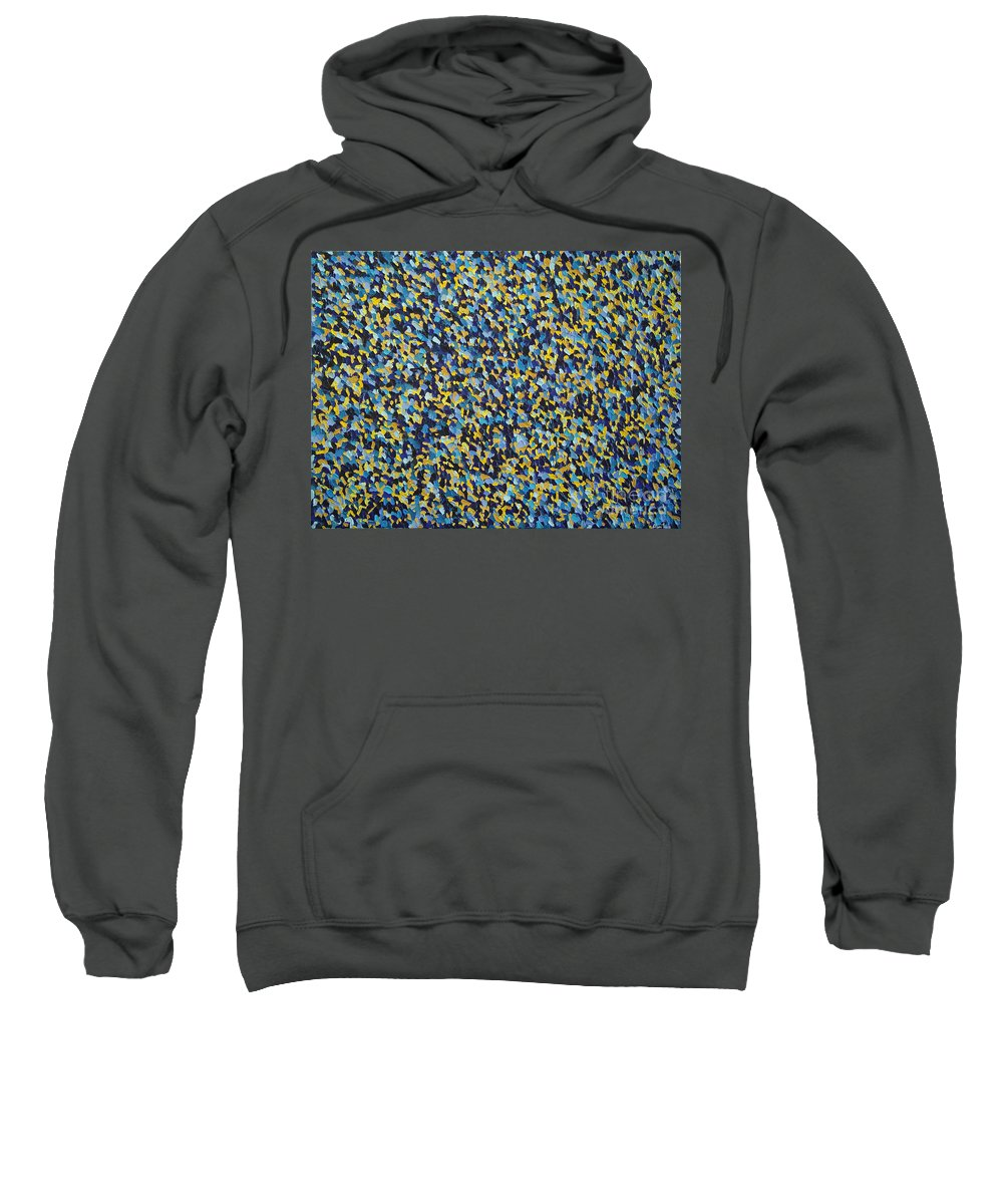Abstract Sweatshirt featuring the painting Soft Blue With Yellow by Dean Triolo