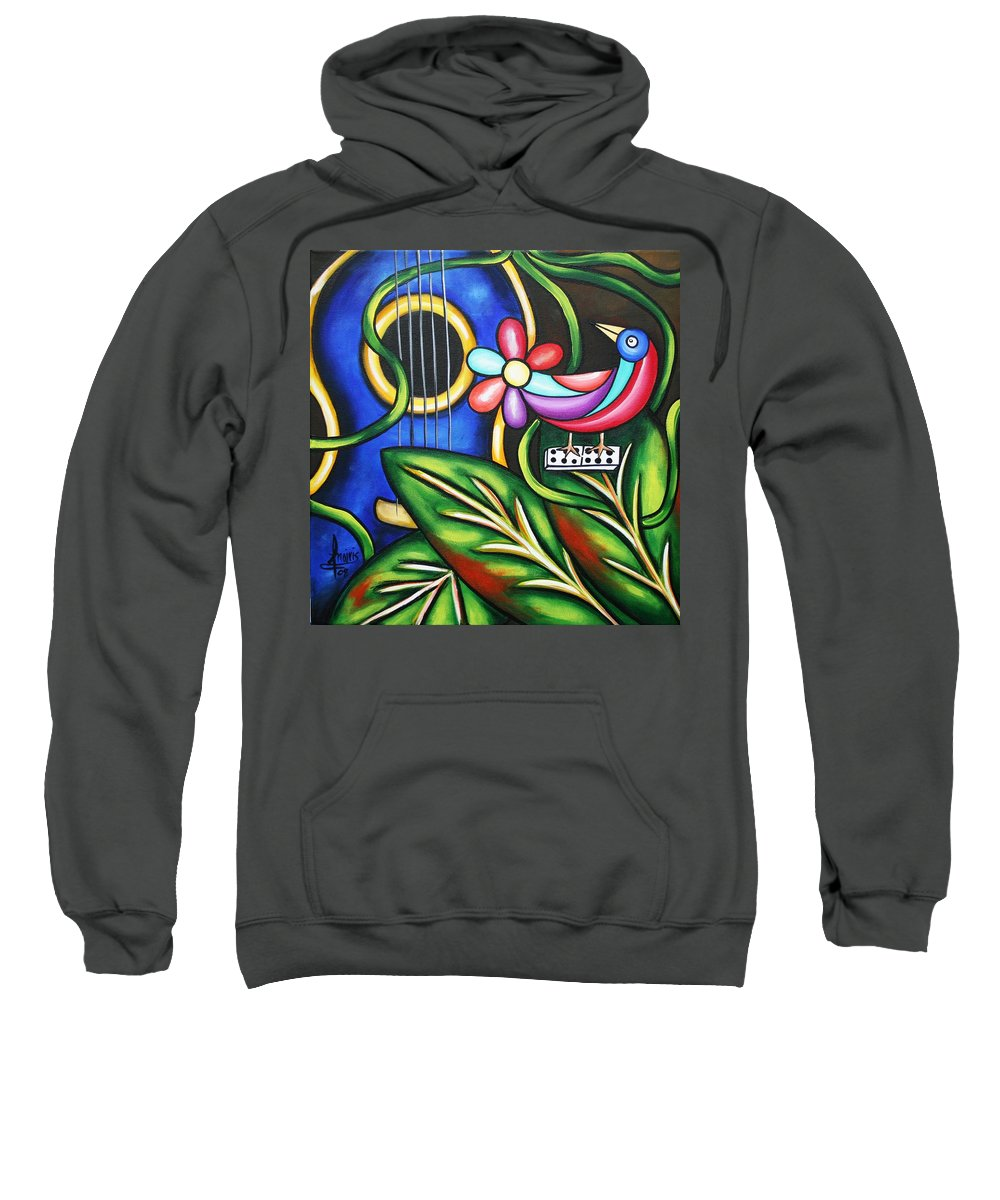 Cuba Sweatshirt featuring the painting Songbird by Annie Maxwell