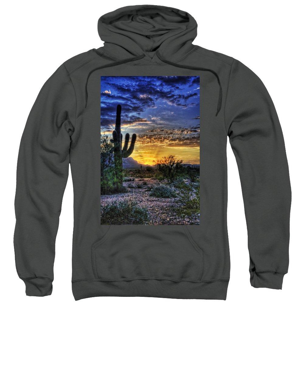 Sonoran Desert Sweatshirt featuring the photograph Sonoran Sunrise by Saija Lehtonen