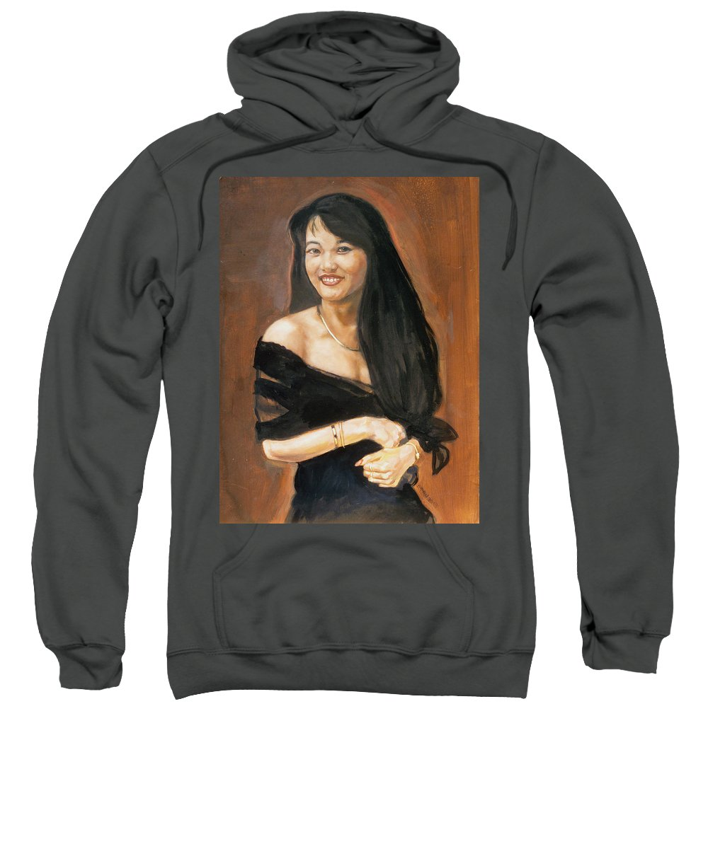Soua Lor Sweatshirt featuring the painting Soua Lor by Bryan Bustard