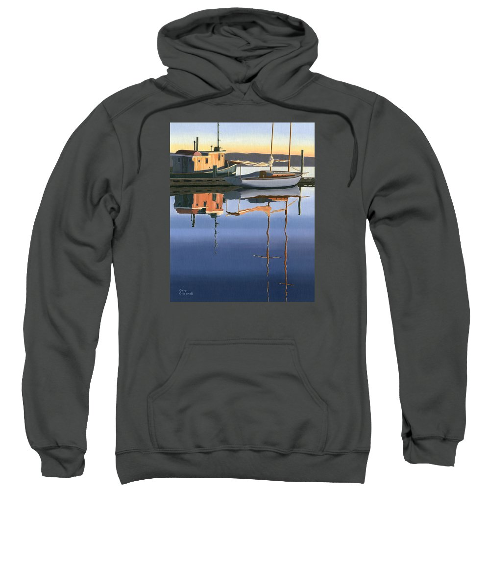 Boat Sweatshirt featuring the painting South Harbour Reflections by Gary Giacomelli