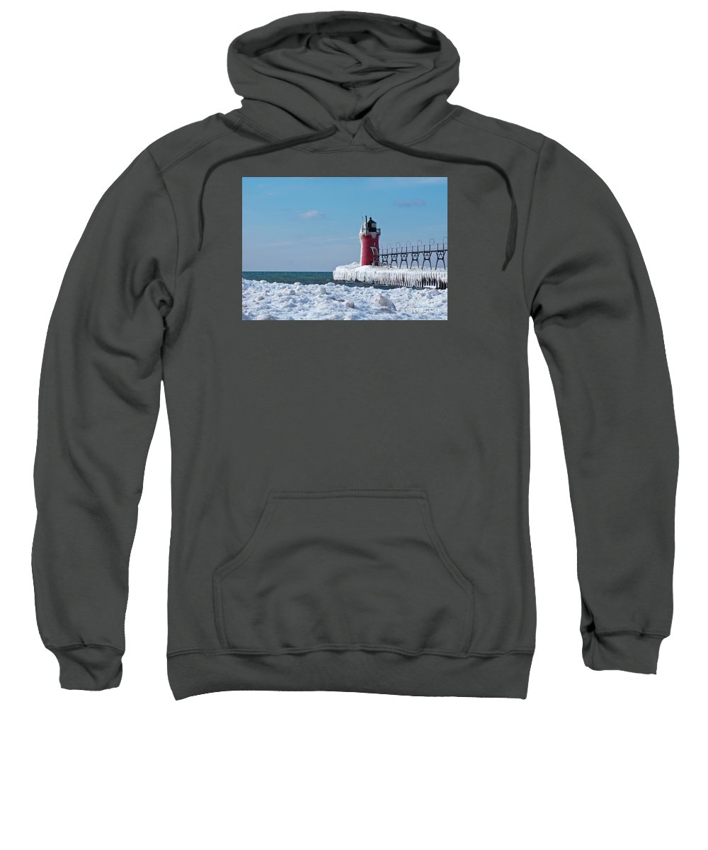 Lighthouse Sweatshirt featuring the photograph South Haven Ice by Ann Horn