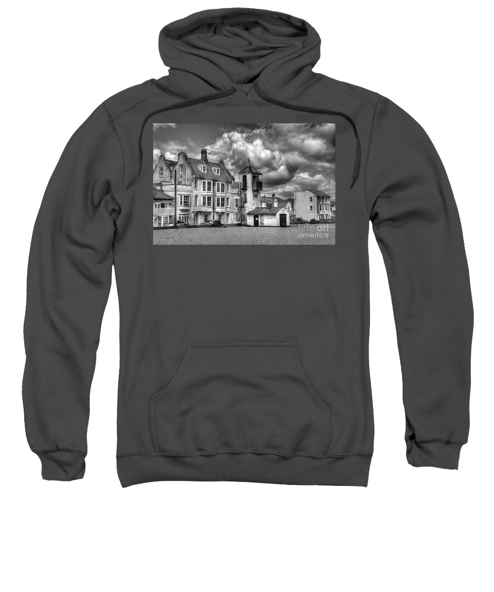 Aldeburgh Canvas Sweatshirt featuring the photograph South Lookout Tower Aldeburgh Black And White by Chris Thaxter