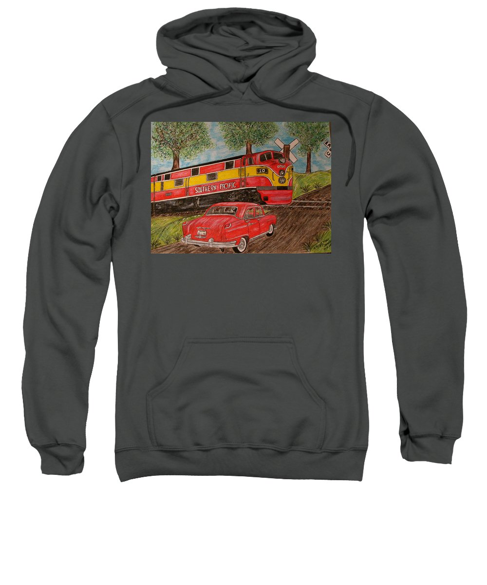 Southern Pacific Railroad Sweatshirt featuring the painting Southern Pacific Train 1951 Kaiser Frazer Car Rr Crossing by Kathy Marrs Chandler