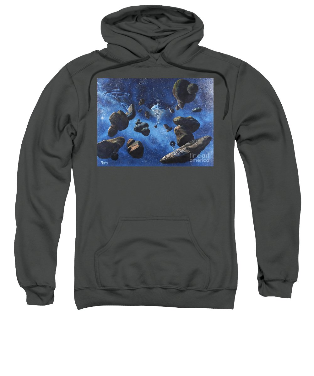Oil Sweatshirt featuring the painting Space Station Outpost Twelve by Murphy Elliott