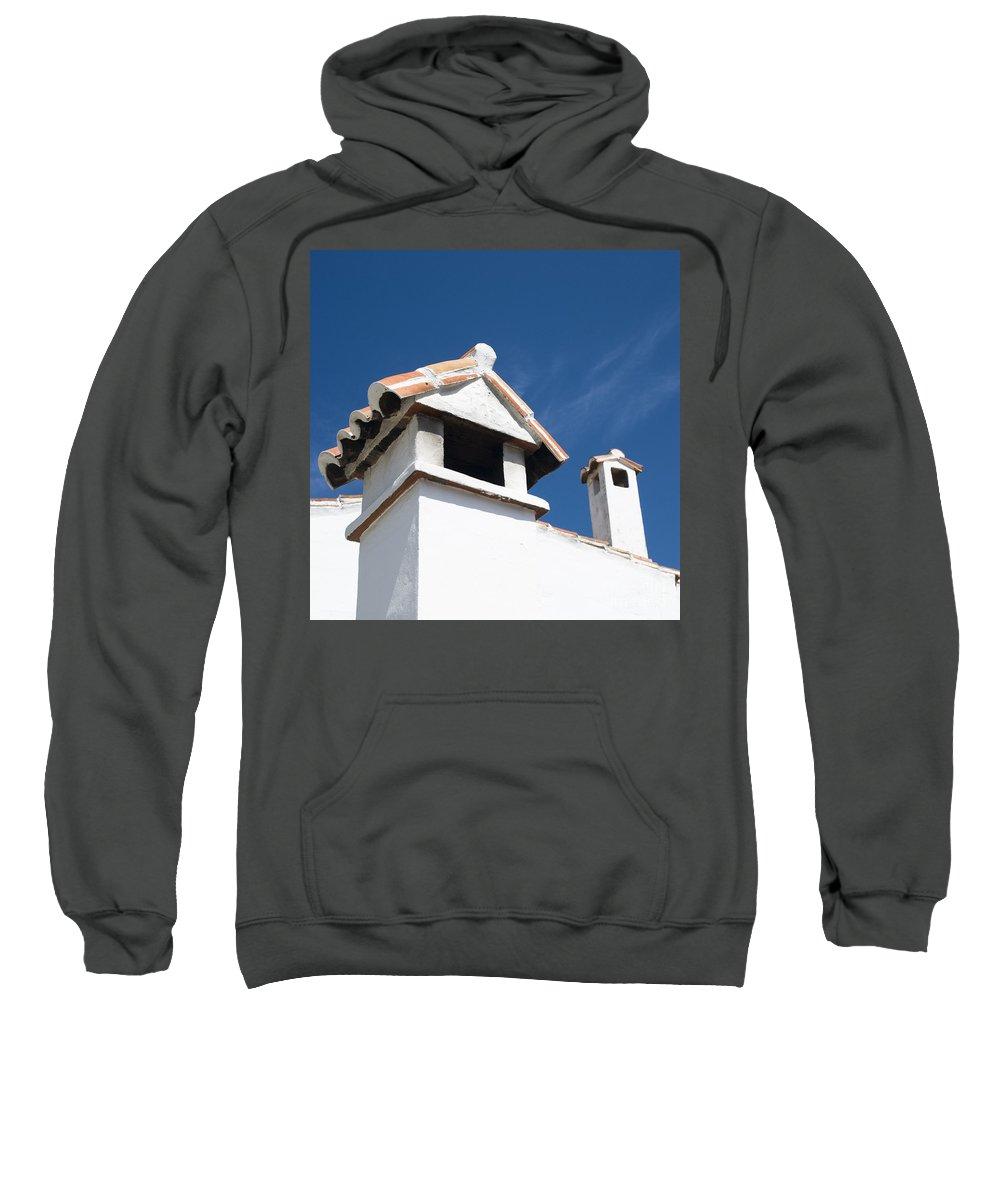Annegilbert Sweatshirt featuring the photograph Spanish Rooftops by Anne Gilbert
