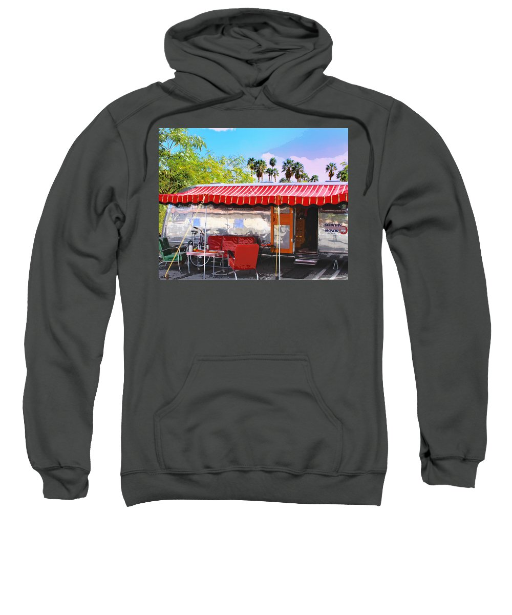 Airstream Sweatshirt featuring the photograph Spartan Manor Palm Springs by William Dey