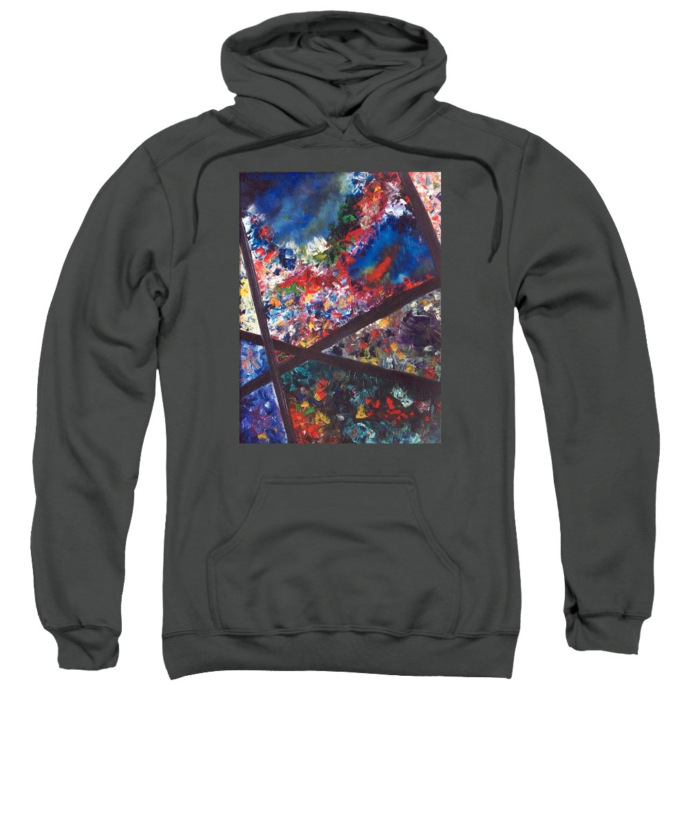 Abstract Sweatshirt featuring the painting Spectral Chaos by Micah Guenther