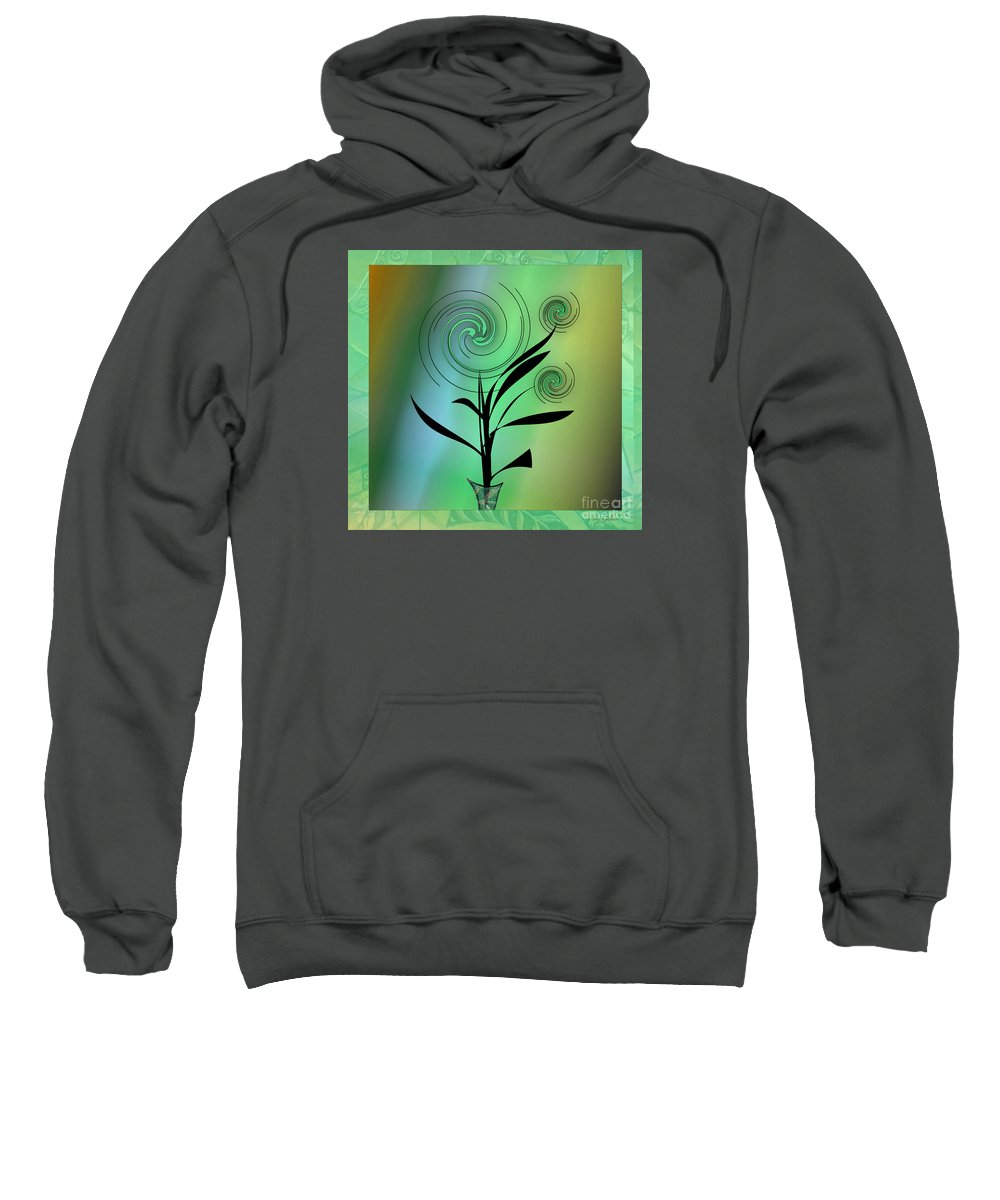 Plant Sweatshirt featuring the digital art Spinning Plant by Iris Gelbart