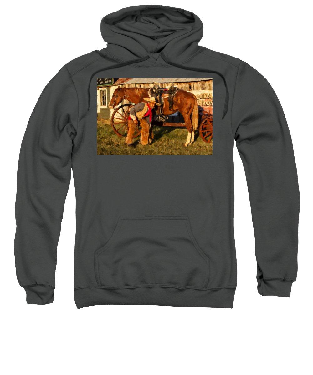 Cowboy Sweatshirt featuring the digital art Spokes by Jack Milchanowski