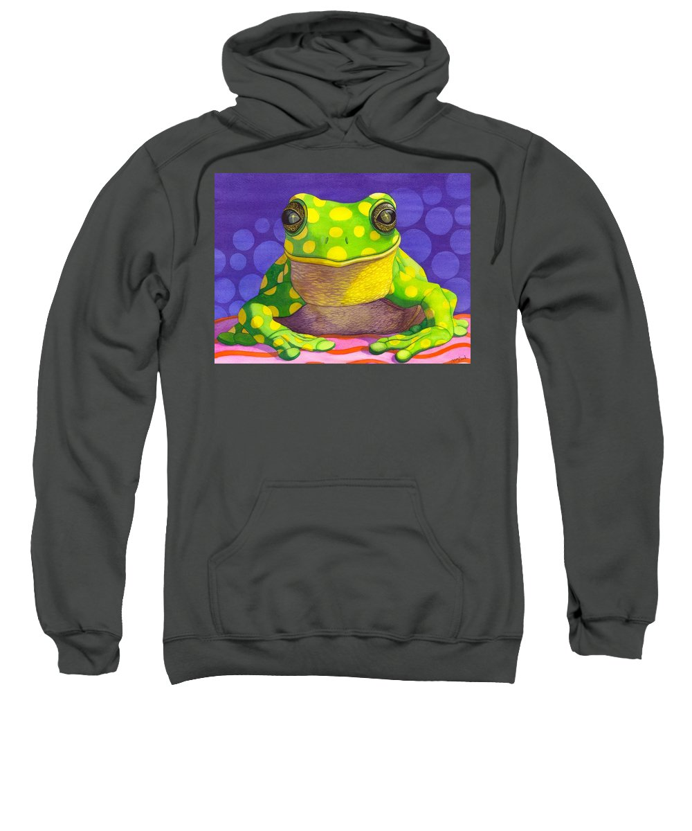 Frog Sweatshirt featuring the painting Spotted Frog by Catherine G McElroy
