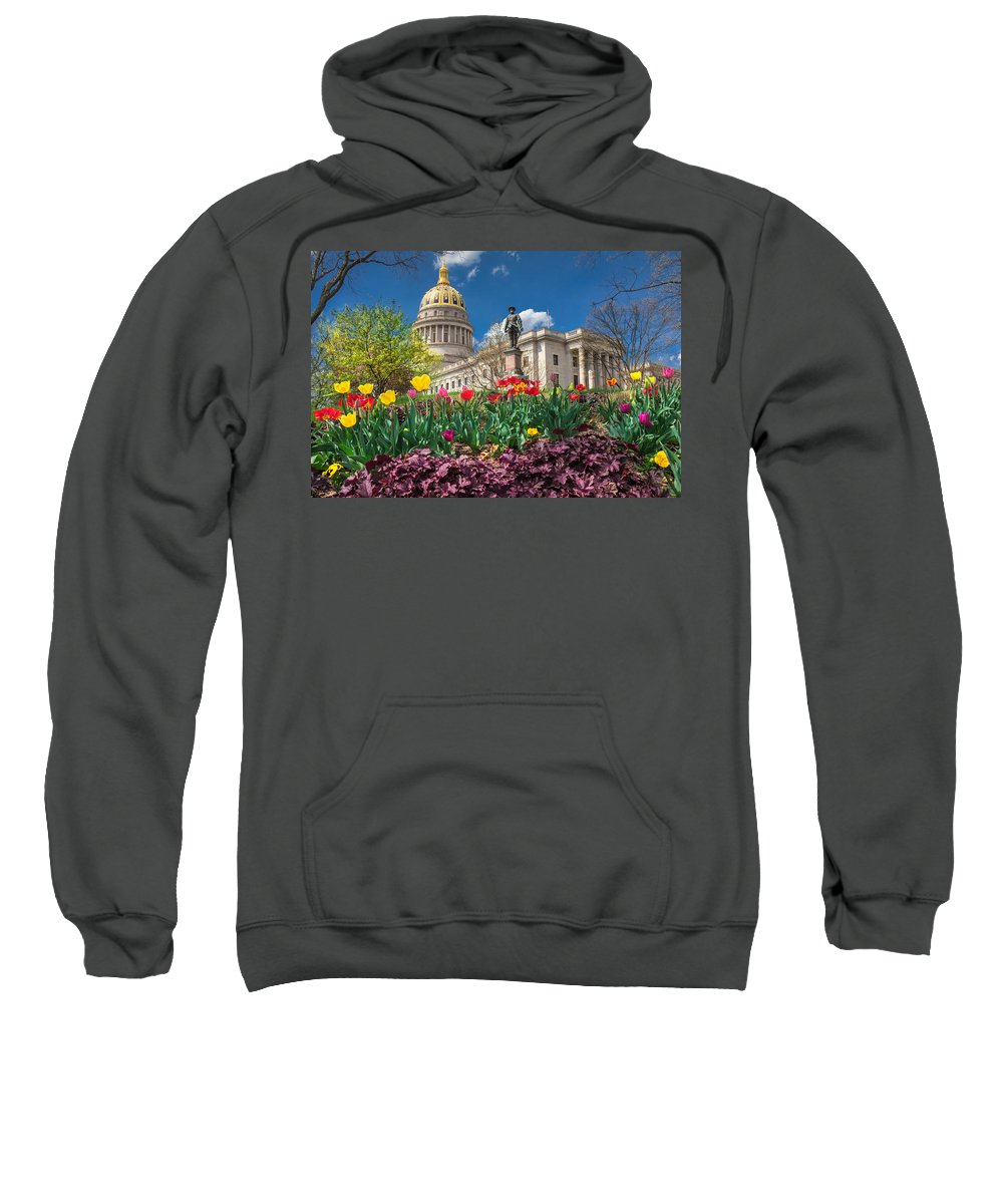 Tulips Sweatshirt featuring the photograph Spring Comes To Wv Capitol by Mary Almond