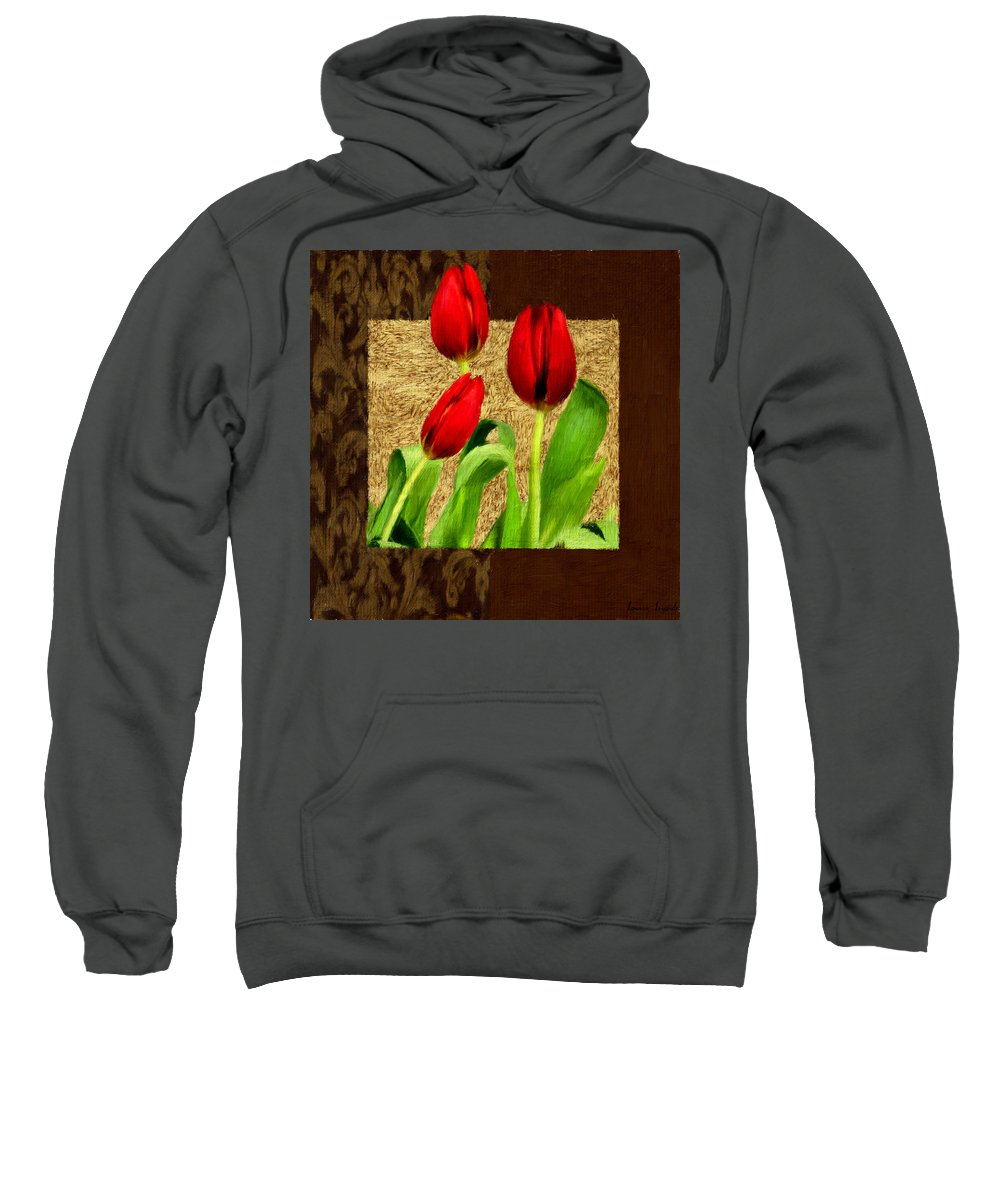 Red Tulips Sweatshirt featuring the photograph Spring Hues by Lourry Legarde