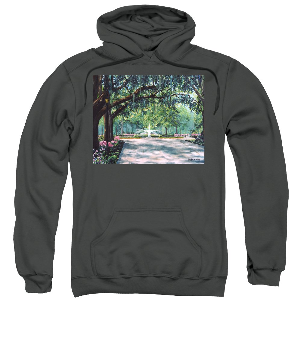 Savannah Sweatshirt featuring the painting Spring In Forsythe Park by Stanton Allaben