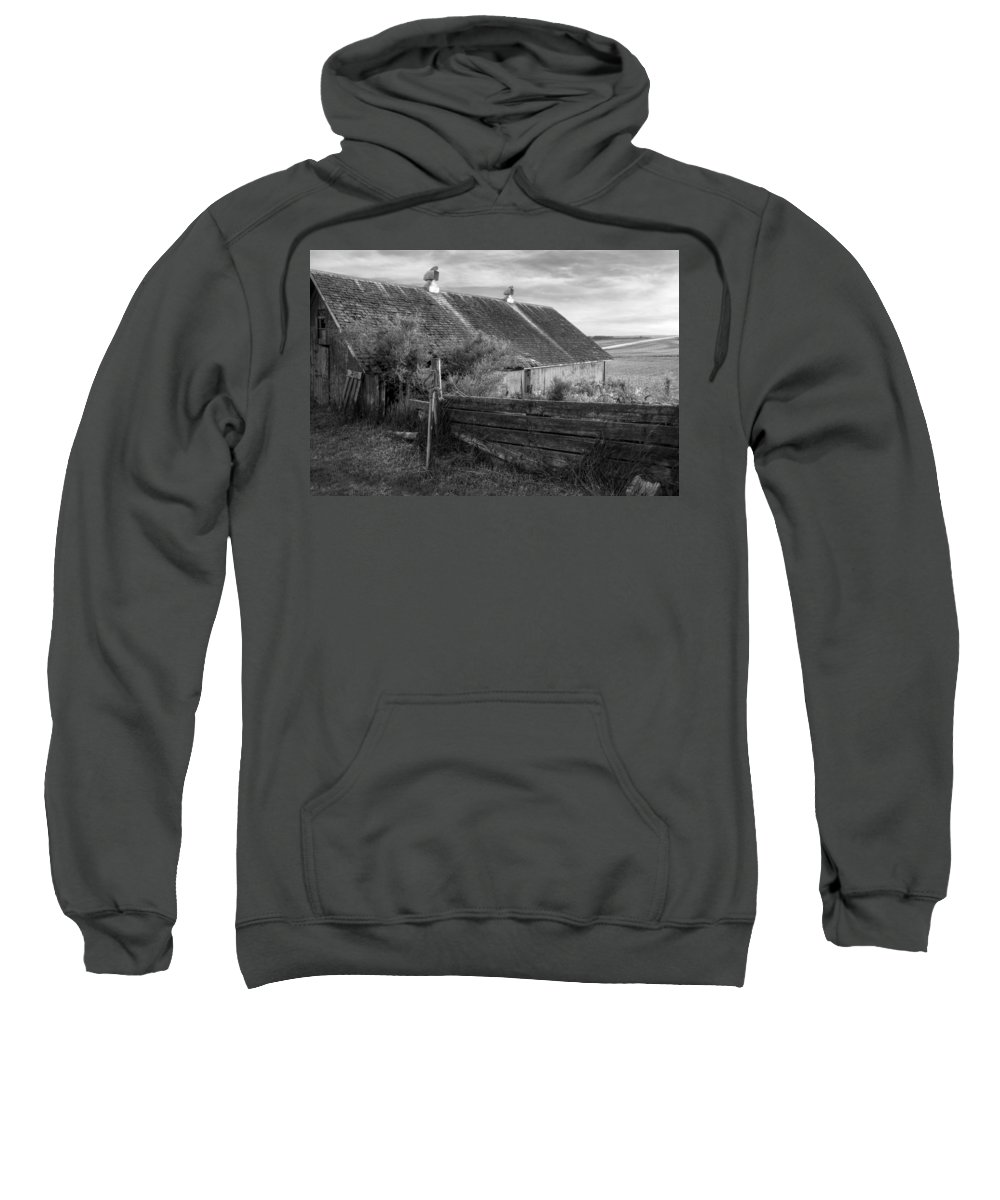 Barns Sweatshirt featuring the photograph Spring Light - Black And White by Nikolyn McDonald