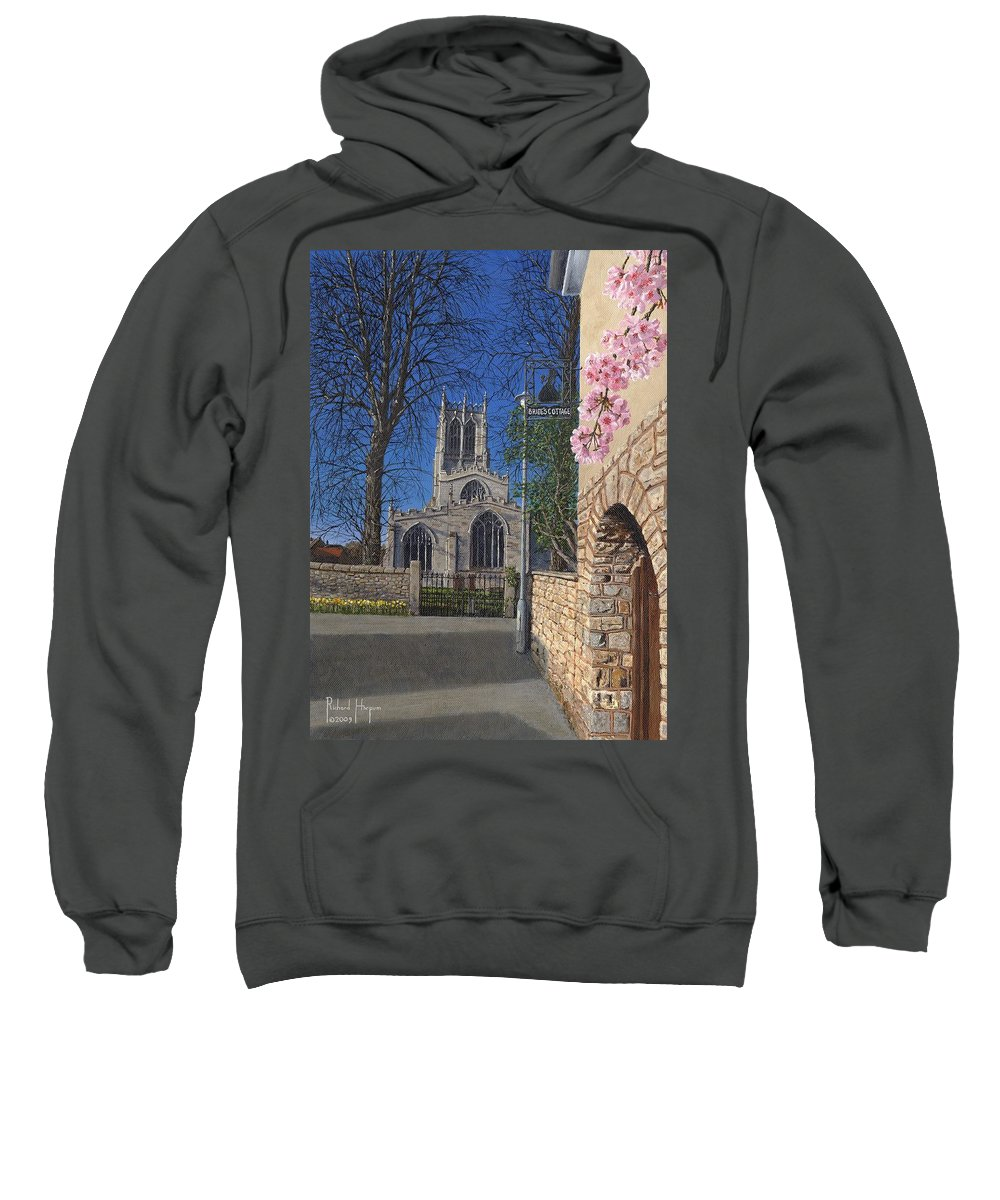 Landscape Sweatshirt featuring the painting Spring Morning Brides Cottage Tickhill Yorkshire by Richard Harpum