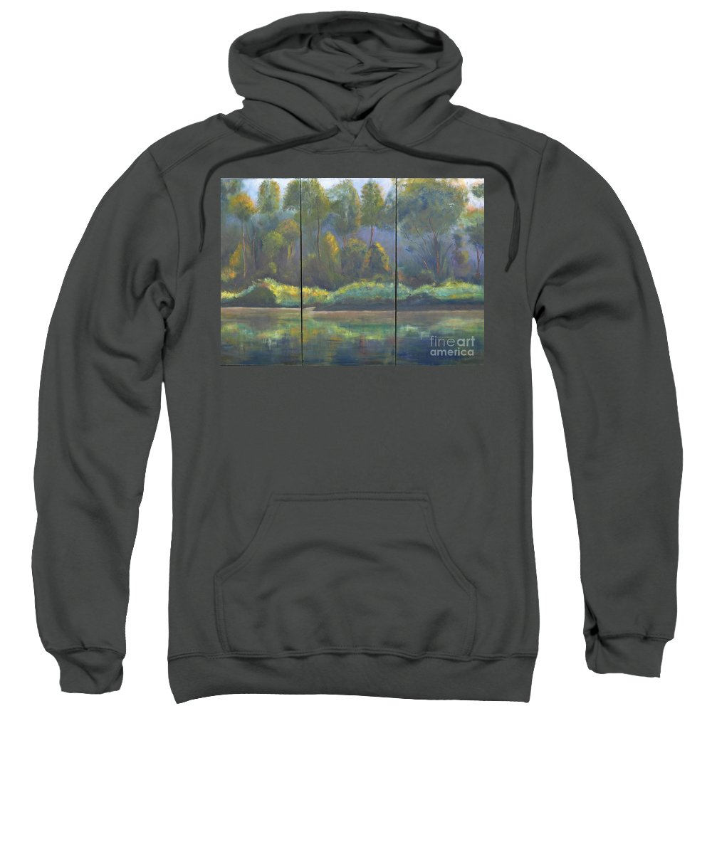 Spring River Coosa Tree Green Water Waterway Sunlight Reflection Tall Tree Blue Sky Yellow Water Front Flow Land Edge Stream Liquid Waterside Channel Sweatshirt featuring the painting Spring On The Coosa by Patricia Caldwell