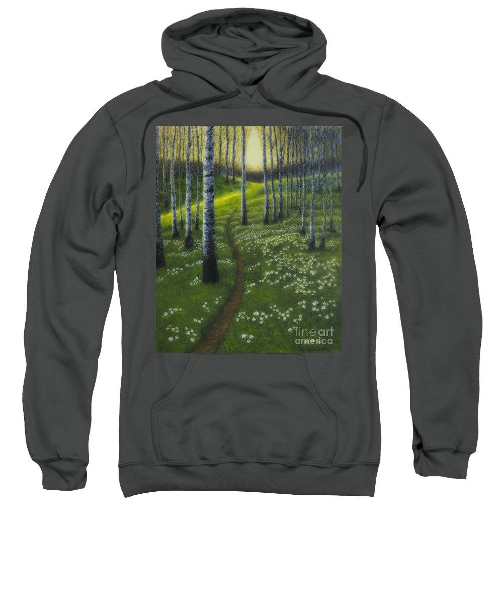 Art Sweatshirt featuring the painting Spring Path by Veikko Suikkanen