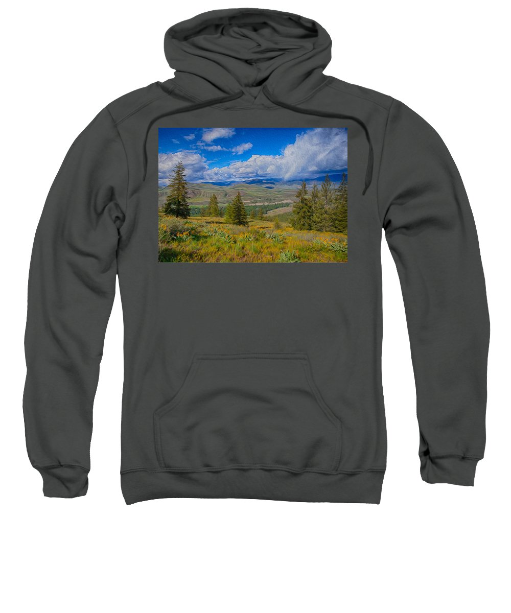 North Cascades Sweatshirt featuring the photograph Spring Rain Across A Valley by Omaste Witkowski