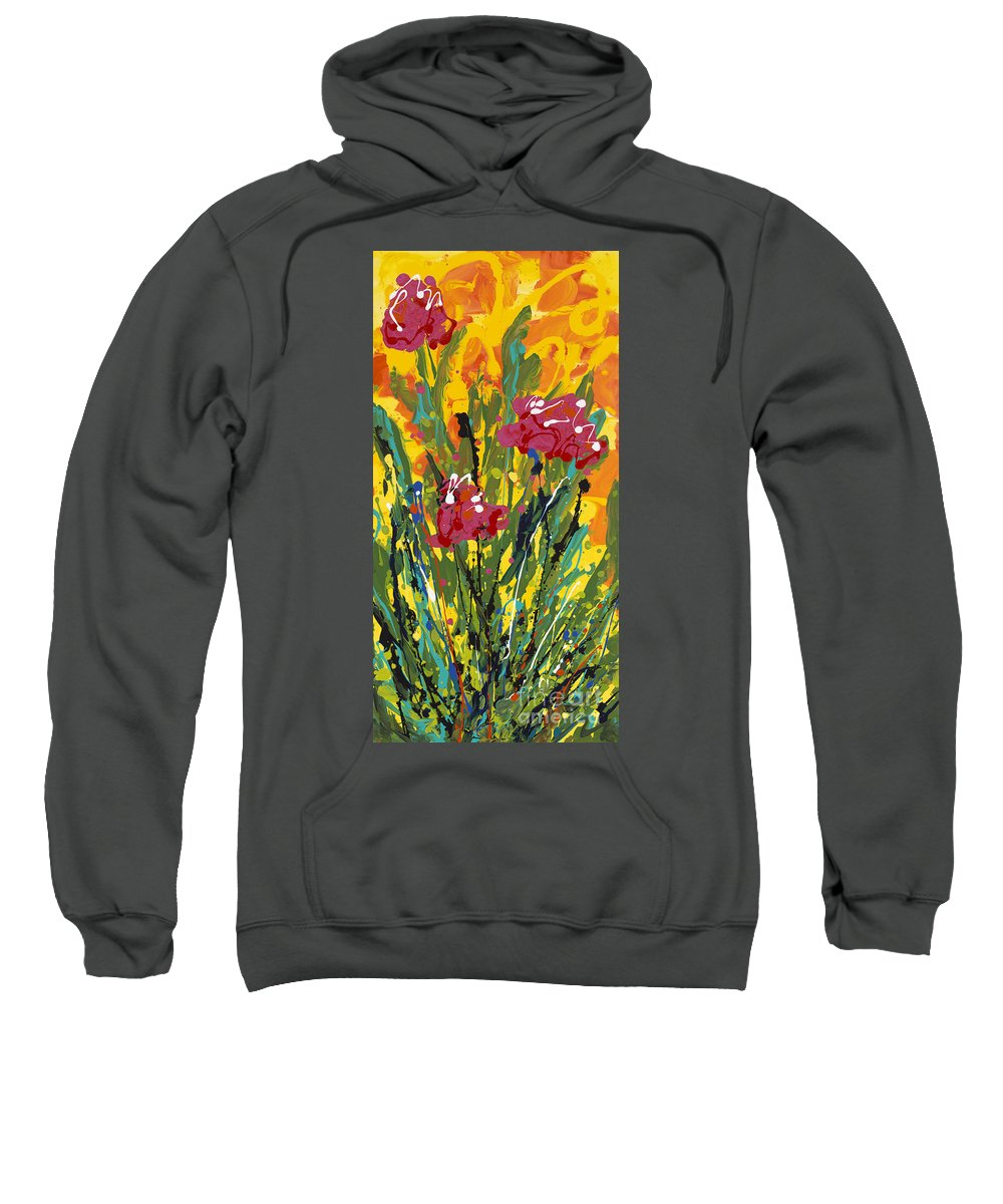 Spring Sweatshirt featuring the painting Spring Tulips Triptych Panel 3 by Nadine Rippelmeyer
